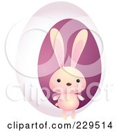 Royalty Free RF Clipart Illustration Of A Cute Pink Rabbit By A Pink Egg by Qiun