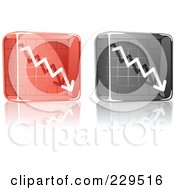 Royalty Free RF Clipart Illustration Of A Digital Collage Of Black And Red Glass Decline Graph Icons