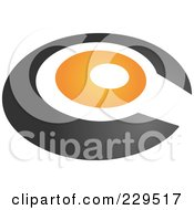 Royalty Free RF Clipart Illustration Of An Abstract Black And Orange Logo Icon 2