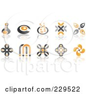 Royalty Free RF Clipart Illustration Of A Digital Collage Of Abstract Black And Orange Logo Icons