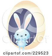 Royalty Free RF Clipart Illustration Of A Cute Blue Rabbit By A Yellow Egg by Qiun