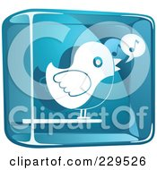 Royalty Free RF Clipart Illustration Of A Blue And White Glass Singing Bird Icon