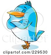 Royalty Free RF Clipart Illustration Of A Pleased Blue Bird Standing With His Arms Folded