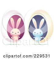 Royalty Free RF Clipart Illustration Of A Digital Collage Of Blue And Pink Rabbits With Eggs by Qiun