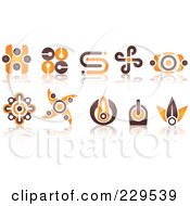 Digital Collage Of Abstract Brown And Orange Logo Icons