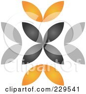 Royalty Free RF Clipart Illustration Of An Abstract Black And Orange Logo Icon 1