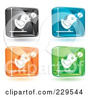 Digital Collage Of Black Blue Orange And Green Glass Singing Bird Icons With Shadows