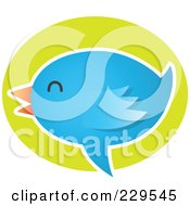 Royalty Free RF Clipart Illustration Of A Talking Blue Bird Icon 6