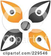 Royalty Free RF Clipart Illustration Of An Abstract Black And Orange Logo Icon 4