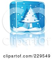 Royalty Free RF Clipart Illustration Of A Blue Glass Christmas Tree Icon