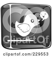 Royalty Free RF Clipart Illustration Of A Black And White Glass Singing Bird Icon