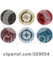 Royalty Free RF Clipart Illustration Of A Digital Collage Of Ornate Compasses by Qiun #COLLC229554-0141