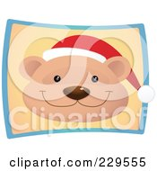 Royalty Free RF Clipart Illustration Of A Cute Christmas Bear Wearing A Santa Hat Over A Beige And Blue Rectangle