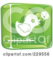 Royalty Free RF Clipart Illustration Of A Green And White Glass Singing Bird Icon