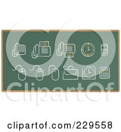 Royalty Free RF Clipart Illustration Of A Digital Collage Of Chalkboard Sketch Icons 1