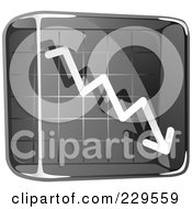 Royalty Free RF Clipart Illustration Of A Black Glass Decline Graph Icon