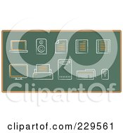 Royalty Free RF Clipart Illustration Of A Digital Collage Of Chalkboard Sketch Icons 2