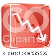 Royalty Free RF Clipart Illustration Of A Red Glass Decline Graph Icon by Qiun