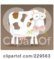 Royalty Free RF Clipart Illustration Of A Dairy Cow Eating Grass On Brown by Qiun