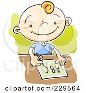 Royalty Free RF Clipart Illustration Of A School Boy Practicing The Alphabet by Qiun