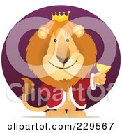 Royalty Free RF Clipart Illustration Of A King Lion Holding A Goblet Over A Purple Circle by Qiun