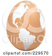 Royalty Free RF Clipart Illustration Of A Brown Egg With An American Map On It 1