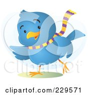 Royalty Free RF Clipart Illustration Of A Gesturing Blue Bird Wearing A Scarf by Qiun
