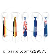 Royalty Free RF Clipart Illustration Of A Digital Collage Of German Belgium Union Jack Europe And Australia Flag Business Ties And White Collars