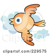 Royalty Free RF Clipart Illustration Of An Orange Bird Flying Past Clouds
