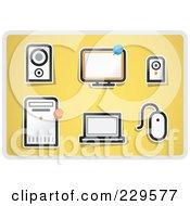 Royalty Free RF Clipart Illustration Of A Digital Collage Of Office Icons On Yellow