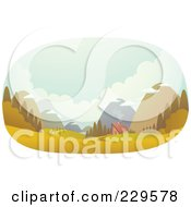Royalty Free RF Clipart Illustration Of A Cabin In A Deserted Valley Surrounded By Mountains