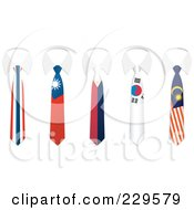 Digital Collage Of Thailand China Philippines South Korea And Malaysia Flag Business Ties And White Collars