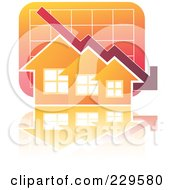 Royalty Free RF Clipart Illustration Of A Decline Graph Behind Orange Homes