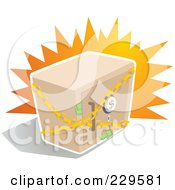 Royalty Free RF Clipart Illustration Of A Chained Safe Box With Money Sticking Out Of The Door by Qiun