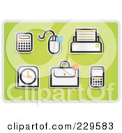 Royalty Free RF Clipart Illustration Of A Digital Collage Of Office Icons On Green by Qiun
