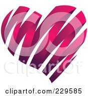 Royalty Free RF Clipart Illustration Of A Dark Pink Ribbon Heart by Qiun #COLLC229585-0141