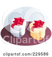 Royalty Free RF Clipart Illustration Of Two Heart Gift Boxes