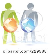 Royalty Free RF Clipart Illustration Of Two Paper People Holding Globes