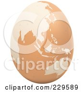 Royalty Free RF Clipart Illustration Of A Brown Egg With An Asian Map On It 2