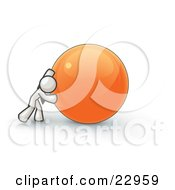 Clipart Illustration Of A Strong White Business Man Pushing An Orange Sphere by Leo Blanchette