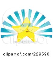 Royalty Free RF Clipart Illustration Of A Happy Star Wearing Shades Against Blue Rays