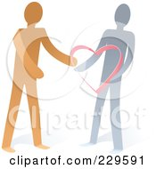 Royalty Free RF Clipart Illustration Of Two Paper People With A Heart
