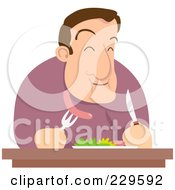 Royalty Free RF Clipart Illustration Of A Hungry Man Eating Sausage