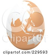 Royalty Free RF Clipart Illustration Of A Brown Egg With An Asian Map On It 1