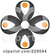 Royalty Free RF Clipart Illustration Of An Abstract Black And Orange Logo Icon 5 by Qiun