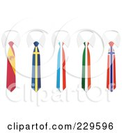 Royalty Free RF Clip Art Illustration Of A Digital Collage Of Spain Sweden France Ireland And Norway Flag Business Ties And White Collars by Qiun