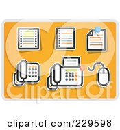 Royalty Free RF Clipart Illustration Of A Digital Collage Of Office Icons On Orange