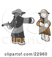 Clipart Illustration Of A White Man Challenging Another White Man To A Duel With Pistils
