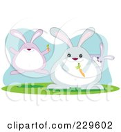 Royalty Free RF Clipart Illustration Of A Rabbit Family With Carrots by Qiun