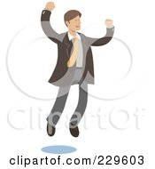 Royalty Free RF Clipart Illustration Of A Happy Businessman Leaping